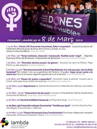 Calendari  Lambda per al  8 de  Març 2013
