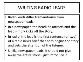 WRITING RADIO LEADS