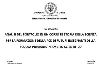 Università degli Studi di Udine Corso di laurea in Scienze della Formazione Primaria