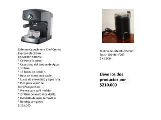 Molino de  cafe  KRUPS  Fast Touch Grinder  F203 $ 45.000 Lleve  los dos  productos por  $210.000