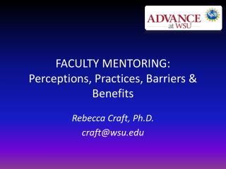 FACULTY MENTORING: Perceptions, Practices, Barriers & Benefits