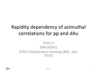 Rapidity dependency of  azimuthal  correlations for pp and  dAu
