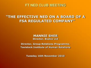 FT NED CLUB MEETING