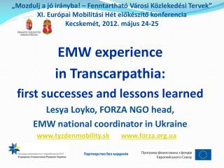 EMW experience  in  Transcarpathia :  first successes and lessons learned