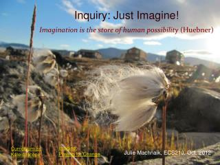 Inquiry: Just Imagine! Imagination is the store of human possibility  (Huebner)