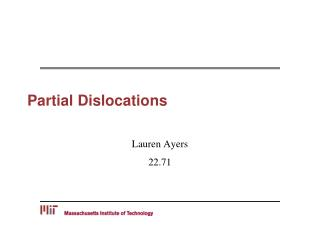 Partial Dislocations