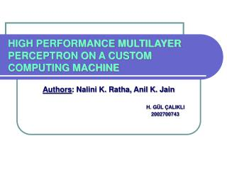 HIGH PERFORMANCE MULTILAYER PERCEPTRON ON A CUSTOM COMPUTING MACHINE