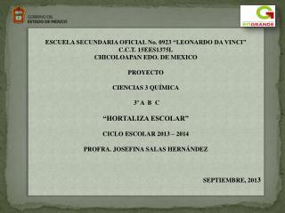 """ESCUELA  SECUNDARIA OFICIAL No. 0923 """"LEONARDO DA VINCI """" C.C.T. 15EES1375L"""