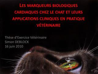 Thèse d'Exercice Vétérinaire Simon DEBLOCK 16 juin 2010