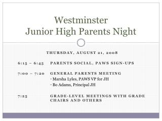 Westminster Junior High Parents Night
