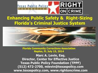 Enhancing Public Safety &  Right-Sizing Florida�s Criminal Justice System