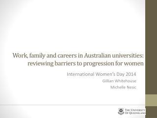 International Women's Day 2014 Gillian Whitehouse Michelle Nesic