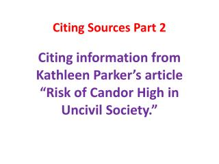 Citing Sources Part 2