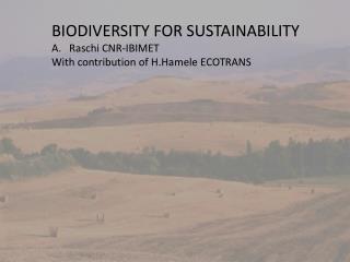 BIODIVERSITY FOR SUSTAINABILITY Raschi CNR-IBIMET  With contribution of H.Hamele  ECOTRANS