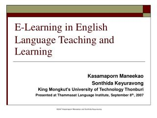 E-Learning in English Language Teaching and Learning