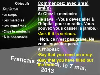 Français  2:  mardi , le 7  mai , 2013