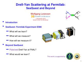 Drell-Yan Scattering at Fermilab:  SeaQuest and Beyond