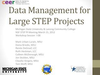 Data Management for Large STEP Projects