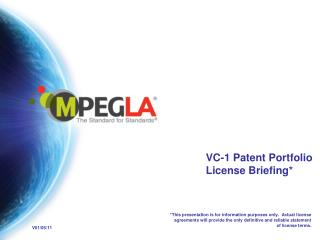 VC-1 Patent Portfolio License Briefing