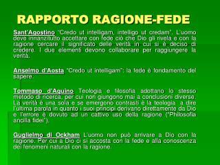 RAPPORTO RAGIONE-FEDE