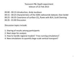 Transcom  PBL Depth experiment telecon  of 22 Feb 2013