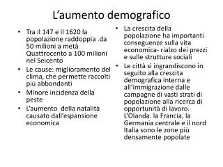 L'aumento demografico
