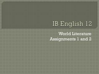 IB English 12