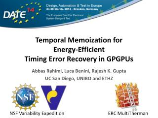 Temporal Memoization for  Energy-Efficient  Timing Error Recovery in GPGPUs