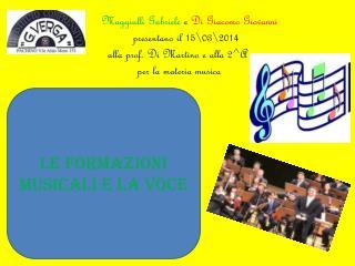 LE FORMAZIONI MUSICALI E LA VOCE