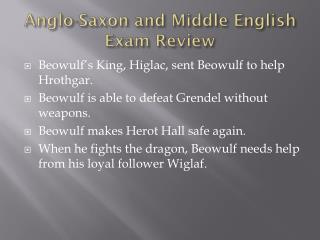 Anglo-Saxon and Middle English Exam Review