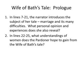 Wife of Bath's Tale:  Prologue