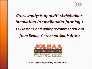 Cross analysis of multi-stakeholder innovation in smallholder farming :