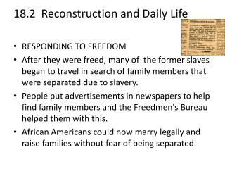 18.2  Reconstruction and Daily  Life