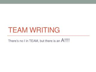 Team  WRiting