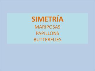 SIMETRÍA MARIPOSAS  PAPILLONS BUTTERFLIES