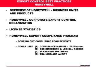 EXPORT CONTROL BEST PRACTICES HONEYWELL