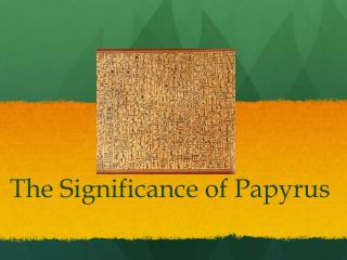 The Significance of Papyrus