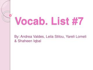 Vocab. List #7