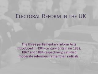Electoral Reform in the UK