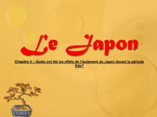 Le Japon Chapitre  4 – Quels ont été les effets de l'isolement du Japon durant la période Edo?