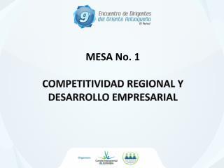 MESA No. 1 Competitividad regional y Desarrollo empresarial
