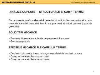 METODA ELEMENTELOR FINITE –  L6 Catedra  de  Constructii Hidrotehnice