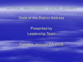 ANTHONY INDEPENDENT SCHOOL DISTRICT