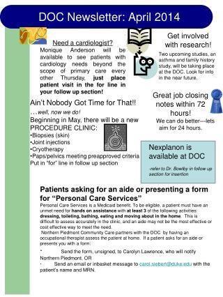 DOC Newsletter: April 2014