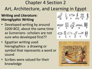 Chapter 4 Section 2 Art, Architecture, and Learning in Egypt