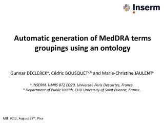 Automatic generation of MedDRA terms groupings using  an  ontology