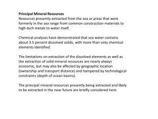 Principal Mineral Resources
