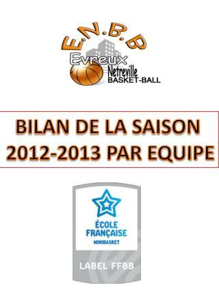 BILAN DE LA SAISON  2012-2013 PAR EQUIPE
