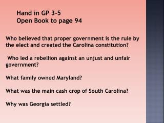 Hand in GP 3-5 Open Book to  page 94