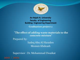 An Najah N. University Faculty   of Engineering Building   Engineering Department